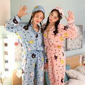 睡衣女 時尚小清新可愛卡通長袖睡衣套裝學生休閒家居服兩件式女【幸福家居】