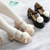 日系Lolita鞋高跟小皮鞋女原創毛球茶會軟妹演出學生可愛蘿莉鞋冬