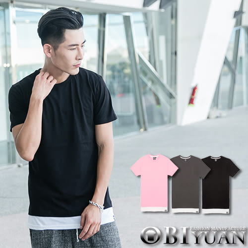 精梳棉短T【JG6727】OBI YUAN韓版素面下擺拼接假兩件設計短袖上衣 共3色