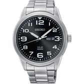 【台南 時代鐘錶 SEIKO】精工 SOLAR 樸實品味太陽能腕錶 SNE471P1@V158-0BC0D 黑 44mm
