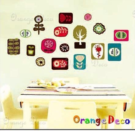 壁貼【橘果設計】花圖 DIY組合壁貼/牆貼/壁紙/客廳臥室浴室幼稚園室內設計裝潢