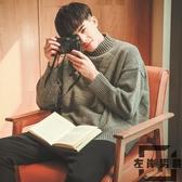 毛衣男士韓版寬松慵懶風半高領針織衫外套加厚【左岸男裝】