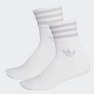 J-adidas adidas ADICOLOR 中筒襪 2雙一 組 白灰 休閒襪 透氣 舒適 女 FL9686