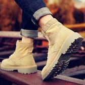馬丁靴男靴子軍靴雪地中筒工裝沙漠靴男士百搭冬季高筒男鞋短靴潮  提拉米蘇