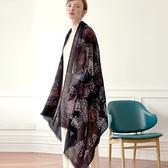 羊毛披肩-印花黑色薄款細流蘇女圍巾73wq16[時尚巴黎]