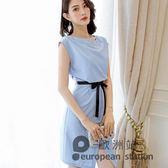 無袖洋裝/春夏新款韓版大碼顯瘦百搭女裝休閒潮流純色連身裙「歐洲站」