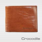 【Crocodile】條紋澀皮系列上翻雙拉鍊短夾   0103-08502-02