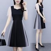 洋裝 連身裙M-4XL中大尺碼 實拍星點網紗拼接花邊領修身連衣裙中長款短袖非A008.9420皇朝天下