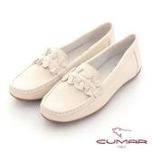 【CUMAR】簡約慢活花朵莫卡辛平底休閒鞋(米色)