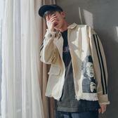 2018春季新款卡通印花水洗外套男士韓版青少年休閒外套衫潮流衣服 熊貓本