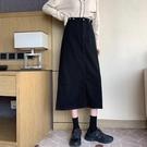 長裙 牛仔半身裙秋冬季女2020新款黑色顯瘦中長款過膝包臀高腰a字裙子 艾維朵