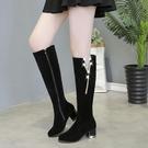 膝上靴 鏈子女鞋水鉆女靴新款靴子女長拉鏈冬靴高筒長靴春秋冬保暖騎士靴 薇薇