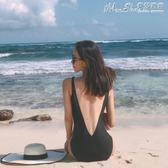 泳衣韓國黑色簡約露背性感遮肚三角V領溫泉沙灘度假泳裝連體女  【四月特賣】