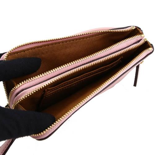 COACH 金屬馬車雙拉鍊荔枝皮革手拿包(淺粉)