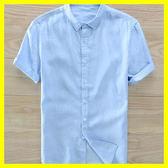 全館83折 棉麻上衣 男士純亞麻襯衫短袖薄款透氣青年學生翻領白色棉麻襯衣潮流上衣男