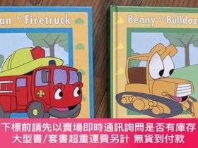二手書博民逛書店A罕見Pop-up Book 2本 Fran the Firetruck,Benny the Bulldozer奇