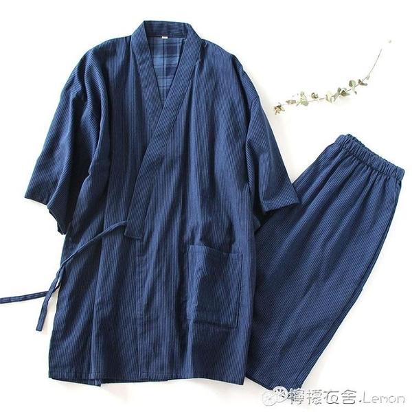 涼快男士睡衣夏季短款浴衣全棉日式短袖紗布和服家居服汗蒸夏甚平