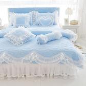 鋪棉雙人床罩組 公主風床罩 加大雙人 雲歌 天藍 精梳純棉 兩用被床罩組 床裙 精梳棉床罩 佛你