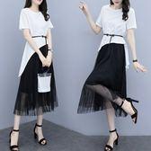 促銷價不退換氣質上衣裙子套裝XL-5XL中大尺碼33558女夏季新款時尚洋氣網紗半身裙兩件套