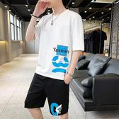 運動套裝男2019夏季短袖t恤男士潮流冰爽嘻哈寬鬆體恤衣服 QG28441『bad boy時尚』