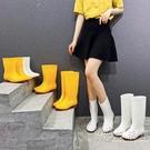 膠鞋女防水防滑套鞋雨鞋女中筒高筒雨靴白色食品工廠廚房工作水靴 小時光生活館