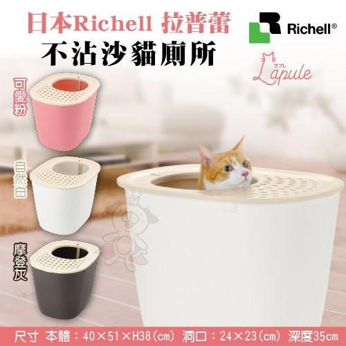 『寵喵樂旗艦店』日本Richell《拉普蕾-不沾沙貓廁所》三色可選 貓砂盆/防潑砂/防落砂
