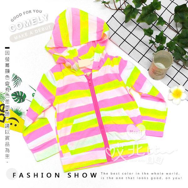 螢光亮粉黃條紋連帽拉鍊薄外套 防曬 透氣 輕薄 舒適 親膚 防曬 冷氣房 童裝 小外套 罩衫 女童