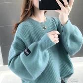 秋冬軟奶藍女士毛衣寬鬆外穿慵懶風套頭馬卡龍針織打底衫 新北購物城