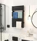 電熱毛巾架 衛生間浴室家用黑色智慧加熱烘乾架(聖誕新品)