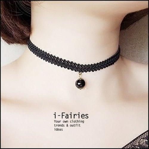 現貨+快速★蕾絲小黑珍珠頸鏈★ifairies【30635】