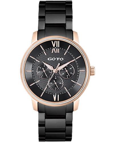 【時間道】[GOTO。錶]個性簡約三眼時尚羅馬刻度(大)/黑面玫瑰金刻殼鋼(GS6023M-43-341)免運費