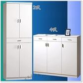 【水晶晶家具/傢俱首選】JM1864-2 米洛斯4X3.6尺三抽三門白色低甲醇木心板鞋櫃(右)