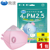 AOK 飛速 4合1 PM 2.5 防霧 呼氣閥 活性碳口罩 M (粉色) 2入/包 專品藥局【2014700】