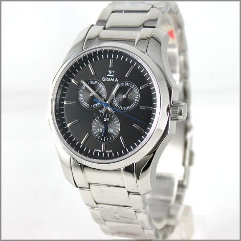 【萬年鐘錶】SIGMA日系 三眼時尚錶 1018M-1