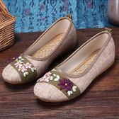 【新年煥新】年春夏新款布鞋女鞋民族風復古軟底繡花鞋子亞麻平底單鞋