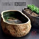 仿石魚缸小型桌面迷你生態微陶瓷魚缸【櫻田川島】