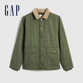 Gap男裝 工裝風開襟撞色翻領外套 593093-軍綠色