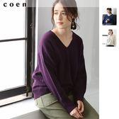 V領上衣 針織毛衣 羔羊毛 可手洗 現貨 免運費 日本品牌【coen】