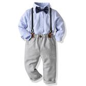 直條紋襯衫領結吊帶褲套裝 兒童西裝 童裝 攝影服裝