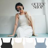 Queen Shop【01150211】平領設計條針織背心 四色售*現+預*