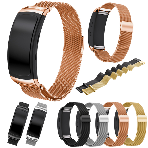 三星 Gear Fit2 Pro 錶帶 不銹鋼 米蘭尼斯 時尚運動 磁力扣 自動磁力吸附 腕帶 替換帶