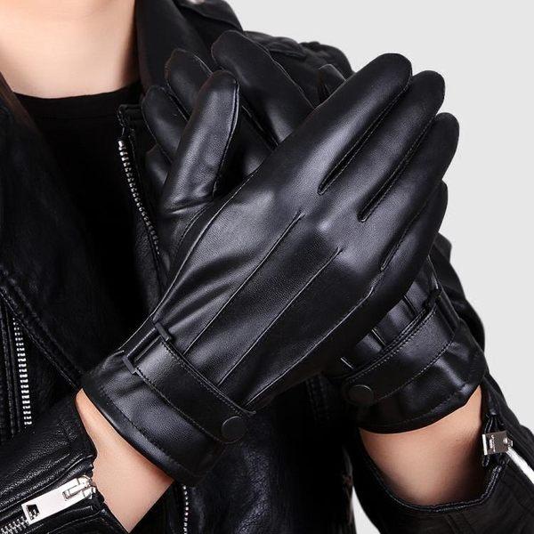 PU皮手套男士秋冬季保暖加絨加厚防風騎行摩托車手套學生觸屏韓版 極度潮客