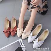 豆豆鞋春夏甜美女鞋淺口尖頭舒適平底鞋絨面蝴蝶結單鞋豆豆鞋女 科炫數位