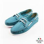 Travel Fox(女)Style夏的編織三角楦雙眼帆船鞋 - 湖水藍