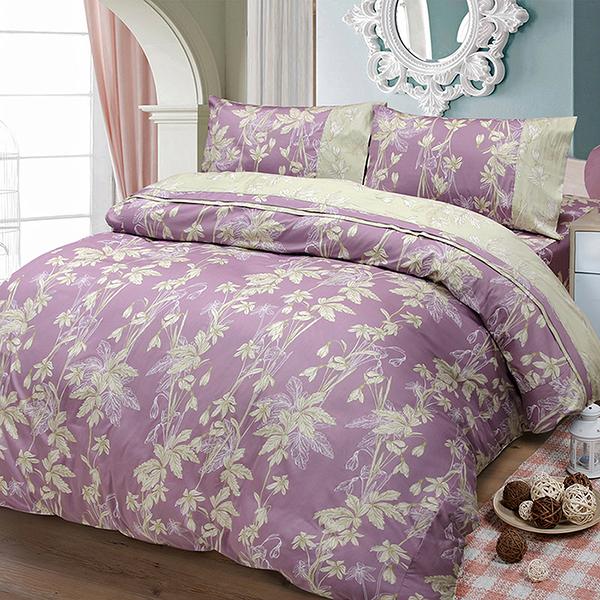 【FITNESS】精梳棉單人床包枕套二件組-緲緲煙花(紫)_TRP多利寶