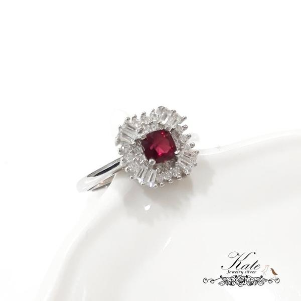 珠寶級天然紅尖晶純銀戒指 0.43ct 可開珠寶鑑定書 紅寶姐妺石 活圍 925純銀寶石戒指 KATE銀飾