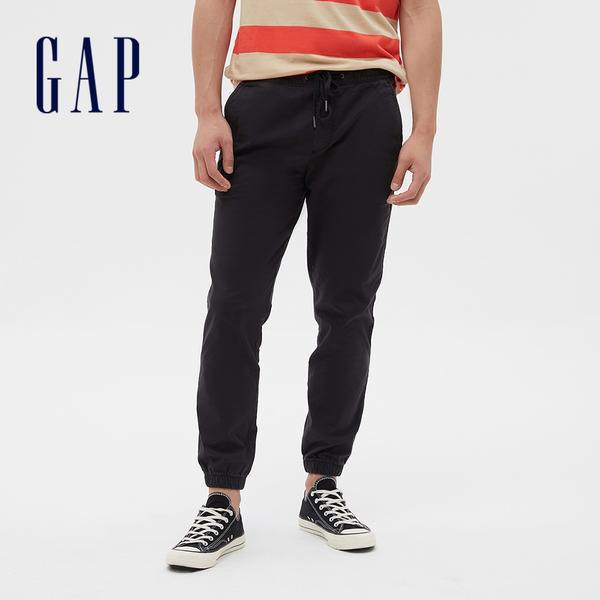 Gap男裝 彈力中腰斜紋束腿運動褲 357801-暗夜黑