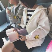 春秋季新品情侶裝正韓寬鬆夾克外套原宿同色系男女棒球服連帽衛衣