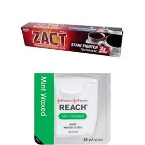 ZACT獅王漬脫牙膏190g*6+REACH 牙線薄荷含(55碼)*3
