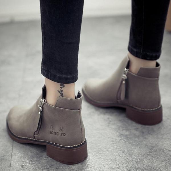 2020新款學生chic馬丁靴女英倫風小跟短靴及裸靴子女靴春秋單靴女 小山好物